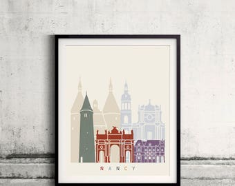 Nancy skyline poster - Fine Art Print Landmarks skyline Poster Gift Illustration Artistic Colorful Landmarks - SKU 2514