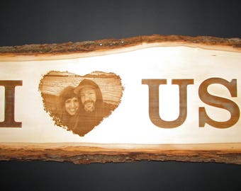 Engraved Wooden Photo Plank, Wedding Gift, Personalized Anniversary Engragment Keepsake, Rustic Photo Decor