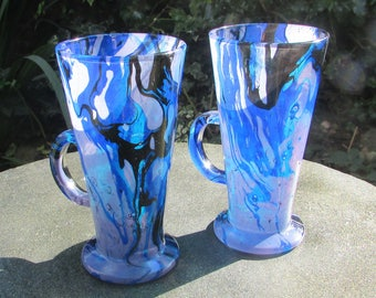 Blue Wave Marbled Latte Glasses (pair)