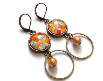 fancy earrings * orange pop * geometric circles, glass cabochon