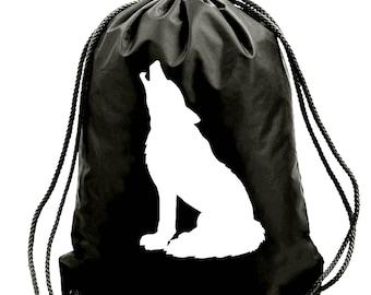 Wolf bag,gym bag,school bag,water resistant drawstring bag,swimming wet bag