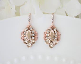 Rose gold wedding earring, Swarovski crystal drop earring, Rhinestone bridal earring, Rose gold bridesmaid earring
