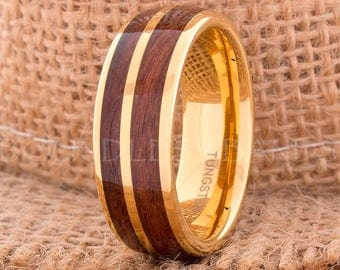 Hawaiian Koa Wood Inlay Ring Yellow Gold Tungsten Ring Wood Wedding Band Dome Wedding Ring Promise Ring Women Men Tungsten Ring 8mm Yellow
