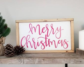 Merry Christmas Sign/ Handmade Sign/ Calligraphy Sign/ Rustic Sign/ Farmhouse Sign/ Holiday Sign/ Wood Sign/ Hand Lettering Sign/ Red Sign