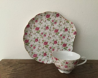 4 LEFTON China Rose Chintz Saucers and 4 Cups     Set of 4 Cups and Luncheon Saucer Plates
