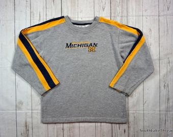 Vintage 90s Michigan Wolverines Sweatshirt, Youth Large (14/16) by Lee Sports, Embroidered Logo, Ann Arbor, MI,Spellout, Vintage Sweatshirt