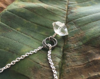 Herkimer Diamond Necklace, Raw Crystal Sterling Silver Necklace, Simple Quartz Pendant Minimalist Layering Necklace