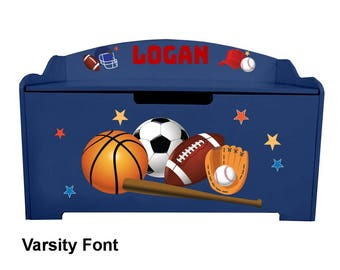 Personalized Dibsies Modern Expressions Sports Toy Box - Blueberry