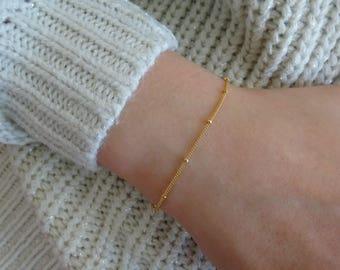 Beaded chain bracelet, Satellite chain bracelet, Layering bracelet, Bridesmaid bracelet, Simple wedding jewelry