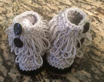 Gray Loopy Baby Booties