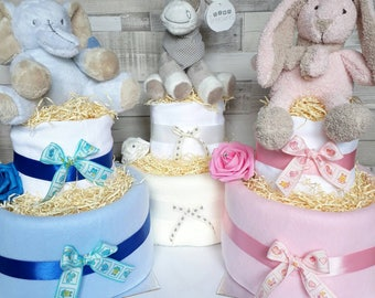 Nappy cake baby  2 tier baby shower gift new baby maternity leave present baby hamper