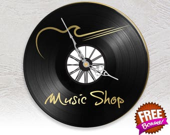 Record vinyl two layered black & color clock / / music Shop music store