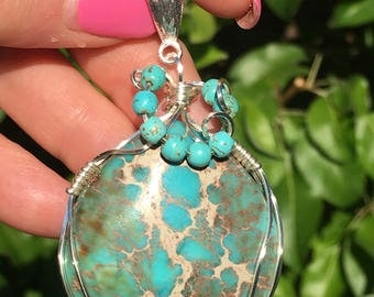 Turquoise matrix pyrite pendant wrapped in silver