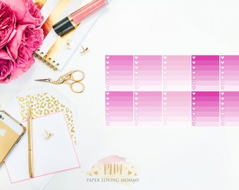 10 February Ombre Checklist Stickers | Planner Stickers designed for use with the Erin Condren Life Planner