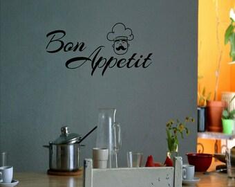 Bon Appetit vinyl wall decal.
