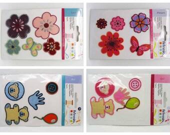 5 Stickers autocollants Feutrine Artemio Scrapbooking carterie couture Ourson fleurs ballon papillons Écusson