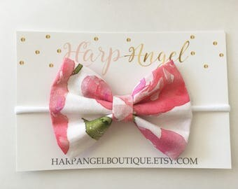 Hot Pink Watercolor Floral Fabric Bow Nylon One Size Headband or Hair Clip Newborn / Baby / Toddler / Girls