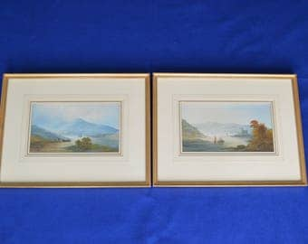 Antique Framed Pair of 19th Century Watercolours- Lake & Mountain Landscape Scene - Water color  Watercolor - Art Picture Painting -