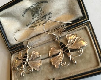 Summer sale Vintage Silver Butterfly earrings.