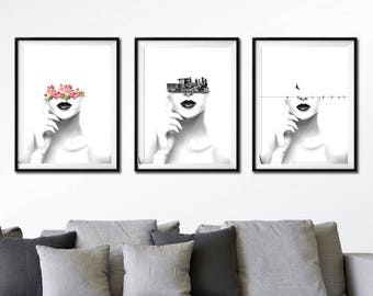 Set of 3 prints - black and white art, surreal portrait, minimalist art, surreal collage art, woman art print, lips wall art, woman portrait