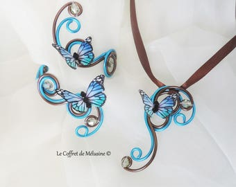 "Pendant and Bracelet chocolate and turquoise Butterfly ""Lonéa"""