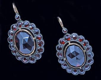Vintage Russian Earrings 14k Gold Silver Garnets (#6357)