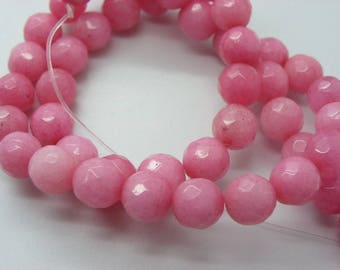 48 masham jade 8 mm faceted opaque candy pink