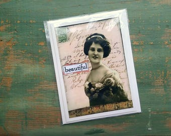 SALE!  Vintage Photo Card, Vintage Inspired Card, blank note card, greeting card, sale card, clearance card, vintage woman, beautiful