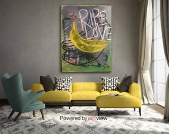 Ripe Love | Banana Painting Wall Art | Wall Decor | Large Wall Art | Mixed Media | Mixed Media Art | Mixed Media Wall Art | Contemporary Art