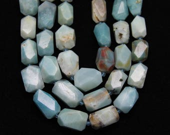 Natural Blue Amazonite Gemstone Beads,Faceted Freeform Nugget Beads,about 16pcs/str