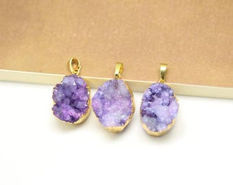 Natural Purple Druzy Agate Pendant,Raw Rough Geode Drusy Oval Slice Pendant,Golden Plated Edged Bail,17-19x23-28mm