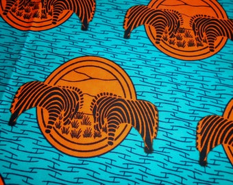 African Wax Print Fabric, by the half yard, Hitarget, Zebras