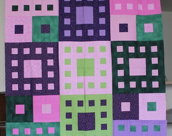 Geometric Square in a Square Design Throw Size Quilt Top