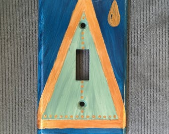 TRIANGLE TEAR Light Switch Plate Hand Painted