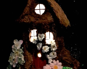 Fairy House night-light illuminated with LEDs, miniature house, fantasy FH001