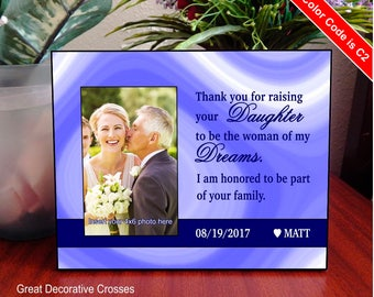 Thank you for raising you Daughter Picture Frame, Parents Wedding Gift, Mother in Law Gift, Father in Law Gift, Grooms Gift to In LawsFWA008