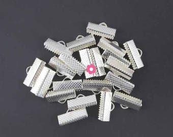x 30 Silver Ribbon 16mm (01E) claw clasp