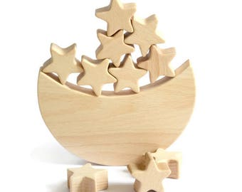 Moon Star  Balance Toy - Wooden game  - Moon Star Rocket Planets - Educational balancing set - Wooden toy