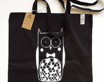 Tas zwart katoen, katoenen shopper Studio Lijnloves print, zeefdruk eco-vriendelijke inkt