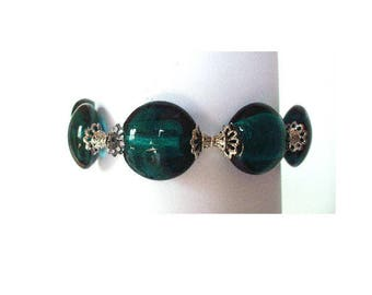 Blue/Green bracelet, murano glass beads