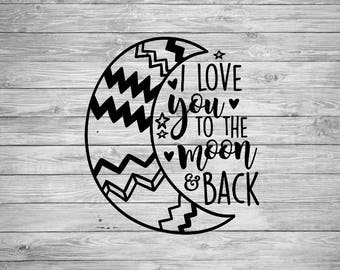 I love you to the Moon and Back Decal| Your choice of Iron on or a Vinyl Decal| Iron On Decal| Vinyl Decal| T Shirt| Yeti|NEXT DAY SHIPPING!