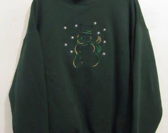 A Vintage 90's,CHEESY Green,Layered Look SNOWMAN Sweatshirt By FTL.xl