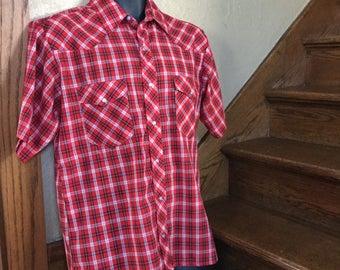 Men's Vintage Wrangler Shirt - Red Plaid Western Shirt - Men's Size Medium - Size 15-15.5 - Snap Up Western Shirt - Red Plaid Cowboy Shirt