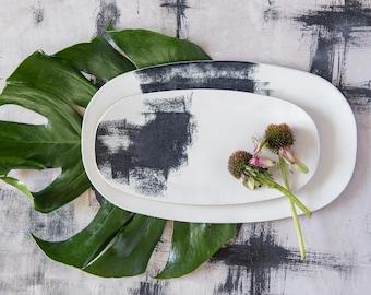 Ceramic tray Set, Black And White Serving Tray, Ceramic Handmade tray, Serving Platter, Modern Serving tray, Housewarming Gift