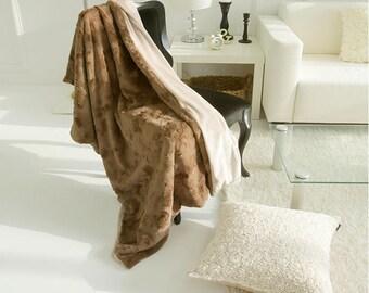 Brown Lofty Plush Throw Blanket