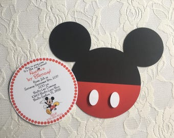 Mickey Mouse Invitation- Mickey Mouse Birthday Invitation- Mickey Mouse Head Invitation