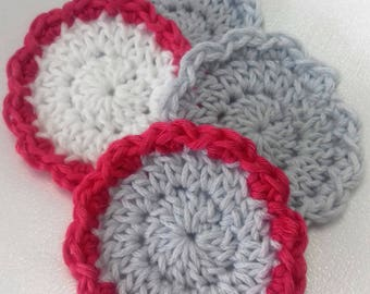 4 cleansing flowers, organic cotton, pink/gray
