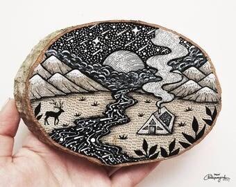 Mystic Nature  // Original Wood Slice Art, Wood Art. Designed by MenisArt