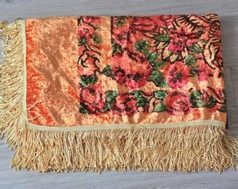 Soviet Vintage Plush Tablecloth or Bedspread - Fringed Table Cloth - Velvet Boho Home Decor - Made in USSR