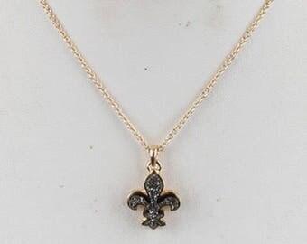 Druzy Fleur De Lis Necklace Gold/Hematite